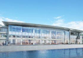 厳原港に対馬市が建設する新しい国内ターミナルの完成予想図