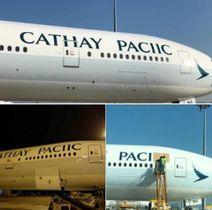 社名が間違えて表記されたキャセイパシフィック航空の機体。ツイッターから