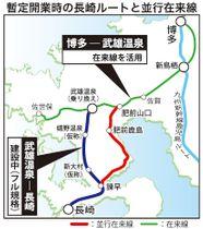 暫定開業時の長崎ルートと並行在来線