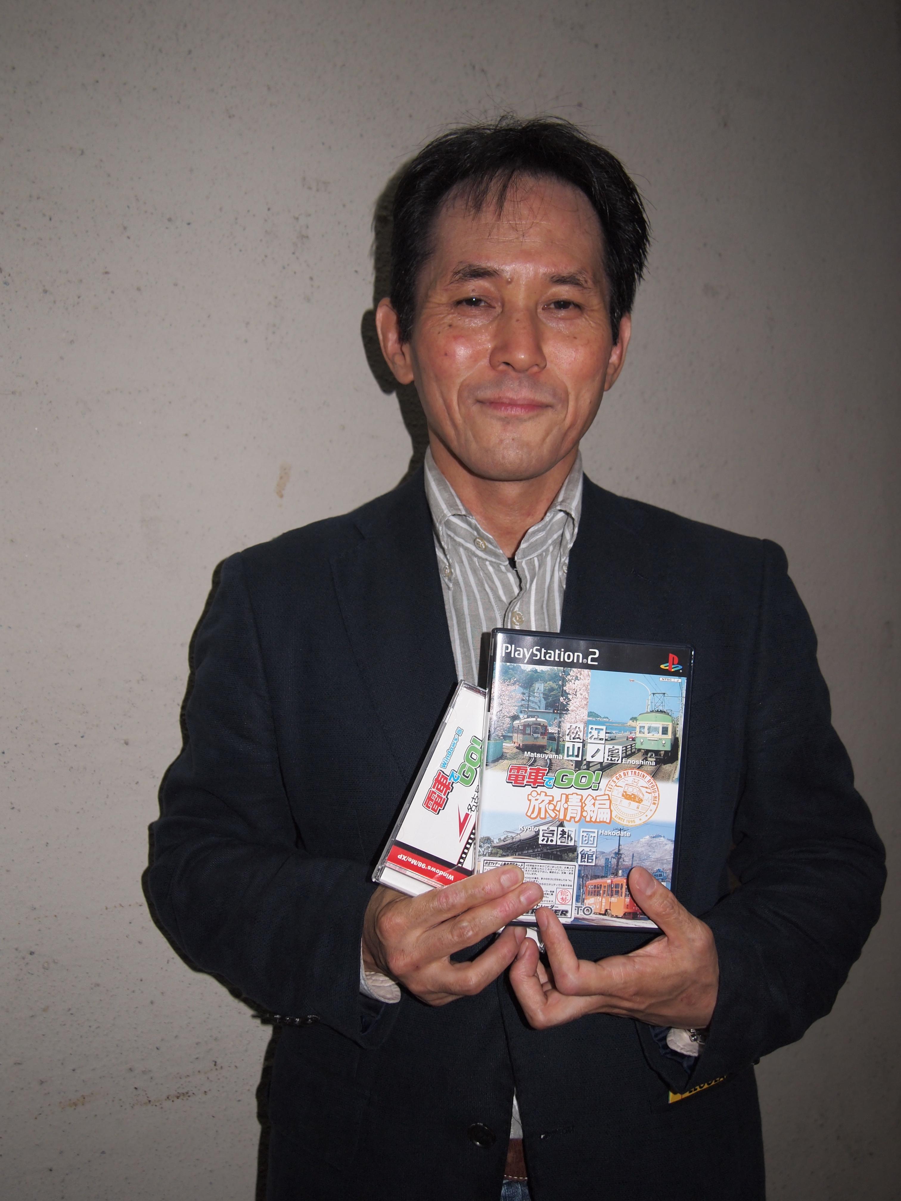 「電車でGO!」の生みの親、齋藤晃さん=東京都港区で筆者撮影