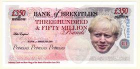 大英博物館に所蔵された偽札。ジョンソン英首相の顔があしらわれ、EU離脱を風刺している(大英博物館提供・共同)