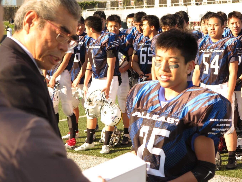 最優秀選手に選ばれた小松桜河選手(25)=写真提供・東京都アメリカンフットボール協会