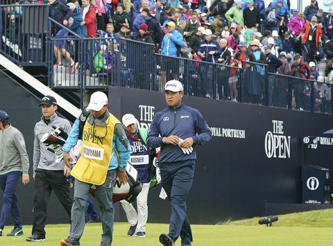 全英ゴルフ、松山は前半38