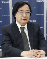 日韓未来対話開催の意義を語る言論NPOの工藤泰志代表=22日、東京都中央区