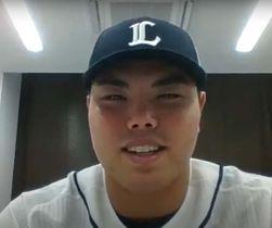 沖縄タイムス特別スポーツ賞を受賞し、オンラインで喜びと意気込みを語る西武の平良海馬投手=28日