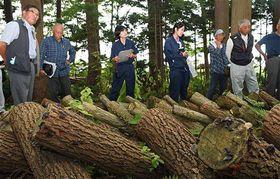 原木栽培されているアラゲキクラゲの新品種(手前)を見学する受講者
