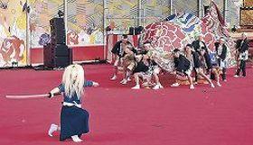 来場者を楽しませた加賀獅子の演舞=東京ドーム