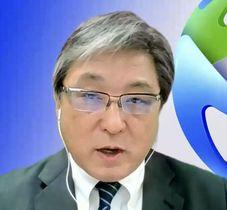 ワールドトライアスロンのオンライン総会で再選された大塚真一郎副会長(共同)