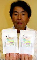 完成した大妻オリジナルブレンド世羅茶をPRする戸田代表