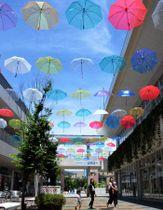 色とりどりの傘が頭上に並ぶ会場(滋賀県草津市西渋川1丁目・エイスクエア)