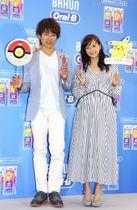 イベントに登場した杉浦太陽(左)と藤本美貴=18日、東京都内