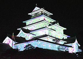 リハーサルで公開された投影映像の一部=20日午後8時ごろ、会津若松市・鶴ケ城