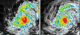 ひまわり8号のデータを利用した2015年の台風13号の予測結果(左)と実際の観測結果(理化学研究所提供)
