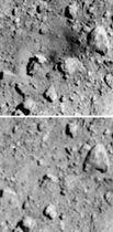 探査機はやぶさ2が25日に撮影した小惑星りゅうぐうの表面の画像(上)。3月22日の画像(下)と比べると、人工クレーターができていることが分かる(JAXAなど提供)