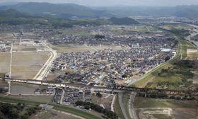 西日本豪雨で川が決壊した岡山県倉敷市真備町地区