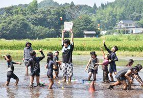 泥にまみれ、玉入れを楽しむ子どもたち