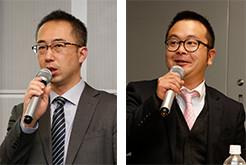 成果発表をする矢野貴朗さん(左)成果発表する坂口奉弘さん(右)