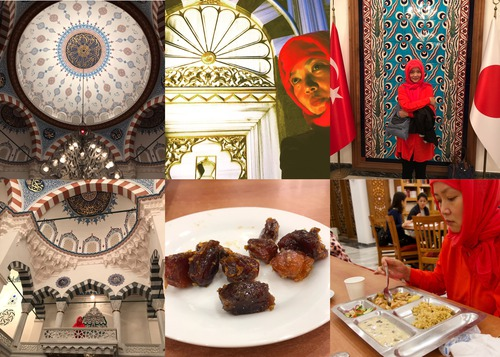 美しいモスク内にて、甘いデーツ、イフタール食を食べる