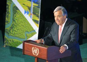 「気候行動サミット」で閉幕のあいさつをする国連のグテレス事務総長=23日、米ニューヨークの国連本部(共同)