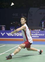 中国オープンの男子シングルス決勝で敗れた桃田賢斗=常州(バドミントンフォト提供・共同)