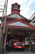 県重宝の第三消防部屯所に格納されている「FS780型消防ポンプ車」