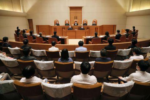 大阪府泉佐野市のふるさと納税を巡る訴訟で、上告審弁論が開かれた最高裁第3小法廷=2日午後(代表撮影)