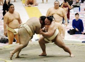 秋巡業に合流後初めて土俵に上がり、ぶつかり稽古で胸を出す貴景勝(右)=姫路市ウインク体育館