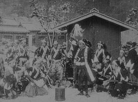 二条城撮影所で撮られた「忠臣蔵」の討ち入り場面