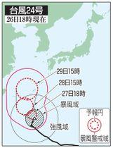 台風24号の予想進路(26日18時現在)