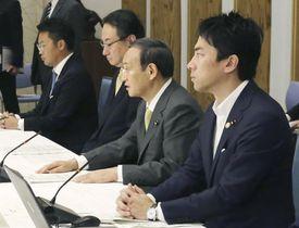 ヒアリ対策の関係閣僚会議に臨む(右から)小泉環境相、菅官房長官=21日午前、首相官邸