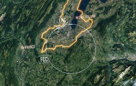 CERNが構想する新型加速器FCCの位置(大きな円)。上の小さな円は加速器LHC。境界線はスイスとフランスの国境(CERN提供)