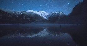 大正池から撮影した冬の穂高連峰