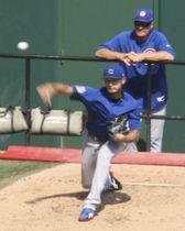 投球練習するカブスのダルビッシュ=セントルイス(共同)