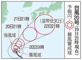 台風20号の予想進路(19日21時現在)