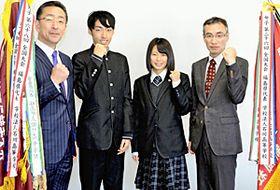 活躍を誓う(左から)森校長、横田主将、佐々木主将、木村部長