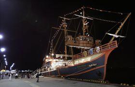 旅客を海上輸送することを想定した実験で、関西空港の岸壁に着岸した観光船「サンタマリア」=14日夜