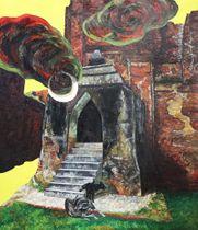 〝改修〟されたタラバー門を描いた作品。連作「バガンのがん」の一作だ=板坂真季撮影