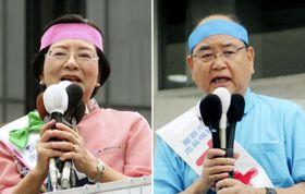 那覇市長選が告示され、第一声を上げる翁長政俊氏(右)と城間幹子氏=14日、那覇市