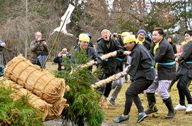 米俵を載せた木舟を威勢よく引き合う町民ら