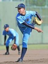 1回戦・東明館-九州国際大付(福岡) 粘りの投球を見せる東明館の川口剛輝=福岡県の小郡市野球場