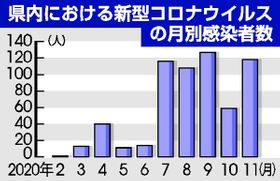 栃木県内における新型コロナウイルスの月別感染者数