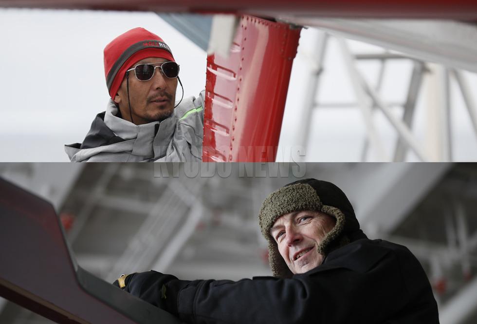 観測隊のチャーターヘリをノートラブルで運用してくれたマット佐藤さん(上)とウェインさん。お疲れ様でした!