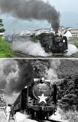 (上)SLが遠野駅を発車するころは土砂降りになってしまい、残念な写真に、(下)釜石線で1990年に走った「ロマン銀河鉄道」。当時はポケベルでいつ呼び出されるか分からない駆け出しの記者だったが、こっそり遠出してこんな写真を撮っていた
