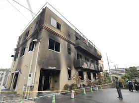焼け焦げた「京都アニメーション」第1スタジオ=22日午前、京都市伏見区
