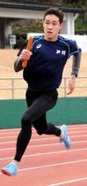 スピード強化に励み、国内トップクラスへの闘いに挑むクレイ=小田原市の城山陸上競技場