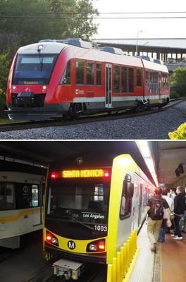 (上)オタワを走るLRTトリリウム線。奥に見えるのが建設中のコンフェデレーション線のベイビュー停留所のプラットホーム=2017年8月26日、(下)米国西部ロサンゼルスの地下にある7番街・メトロセンター停留所に停車中の近畿車両製のLRT車両=2016年10月24日