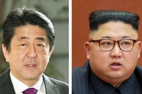 安倍晋三首相、北朝鮮の金正恩朝鮮労働党委員長(朝鮮通信=共同)