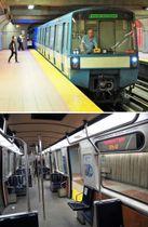 (上)モントリオール地下鉄の車両「MR―73」、(下)「MR―73」の車内。電光掲示板の表示(右)も、車内アナウンスもモントリオールがあるケベック州の公用語のフランス語を用いている