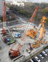 リニア中央新幹線の非常口新設工事現場=11日、名古屋市