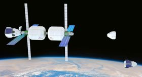 民間として初めて、2021年に打ち上げが決まった宇宙ステーションのイメージ(ビゲロー・スペース・オペレーションズ提供・共同)